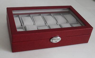 Davidt´s Große Uhrenbox Uhrenkoffer Uhrenkasten mit Glas in ROT für 12 Uhren