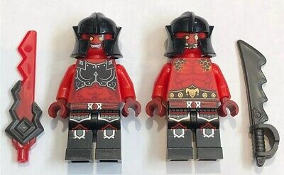 2 X NEW LEGO Nexo Knight Evil Red Minifigures Figs Bad Guys Demon Swords Lot 76