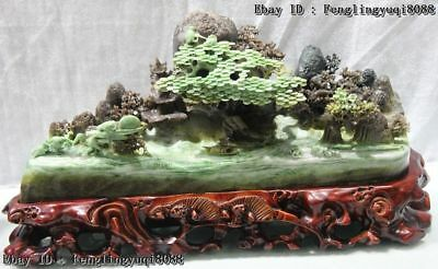 "9"" Chinese Dushan Jade Mountain Water "" Sail With The Wind "" Landscape Statue"