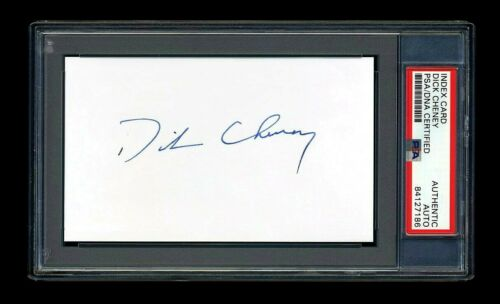 DICK CHENEY SIGNED MINT INDEX CARD PSA/DNA SLABBED AUTOGRAPHED VICE PRESIDENT