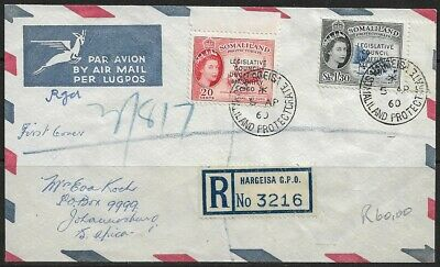 Somaliland 1960 QEII Airmail Registered to Hargeisa No.3216 Sent to Johannesburg