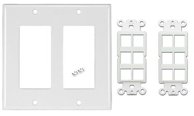 (Decora Double Gang Wall Plate + 6 Terminal Snap in Keystone Insert Jack - White)