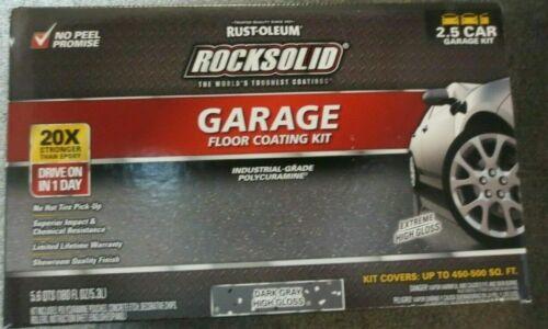 Rust-Oleum Rocksolid 2.5 car garage floor coating DARK GRAY 180 OZ.