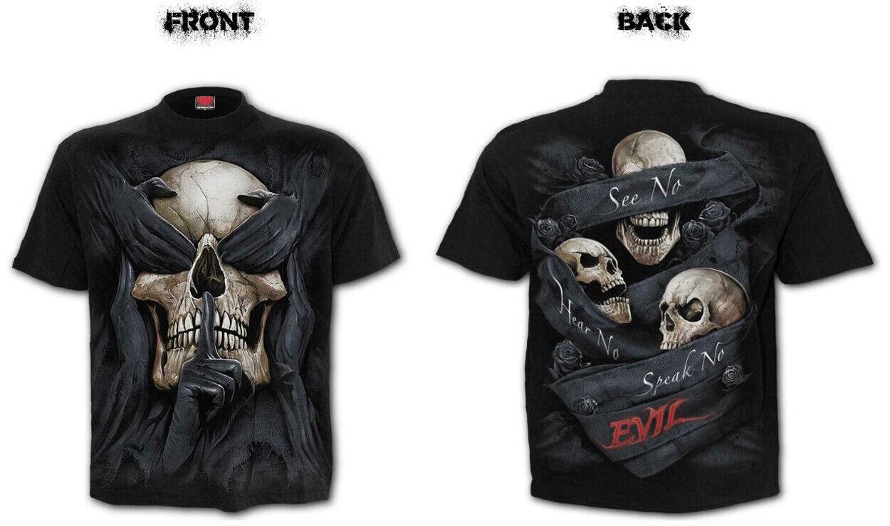 Clothing T-Shirt Spiral Direct BIKE LIFE Mens Long Sleeve Rock//Biker//Reaper