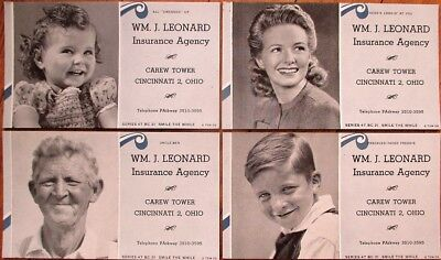 Cincinnati  Oh 1947 Insurance Advertising Blotters Set Of Four   Wm  J  Leonard
