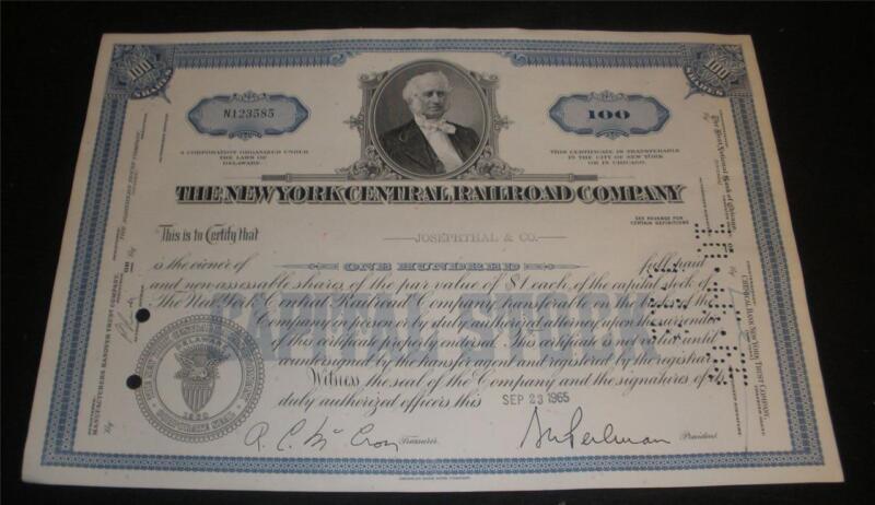 New York Central Railroad Company Stock Certificate great condition