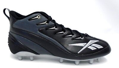 5141bd9581184d Reebok NFL 4 Speed III Mid Black and Grey Football Cleats - Size 11.5