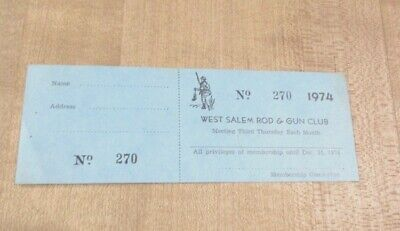 Vintage 1974 West Salem Rod & Gun Club Entry ticket hunting sporting goods >
