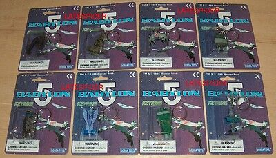 Full Set of 8 BABYLON 5 micro machines Keyring 1995 RARE SEALED Star Fury
