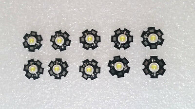 10pcs 5w 45mil 3v - 3.6v 1400ma 15000k Led Chip With 20mm Star Bead- Cold White