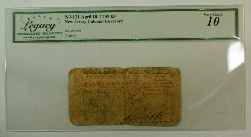 April 10th 1759 3 Pounds New Jersey NJ-131 Colonial Currency Legacy VG-10 (AKR)