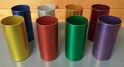 Vintage 8 Perma Hues Spun Aluminum Metal Tumbler Glasses