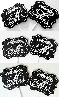 2 PC SET CHALKBOARD STYLE LAWN STAKES for WEDDING LGBT or MR & MRS 11.75 x 4.75
