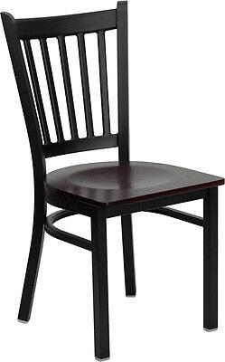 10 Metal Vertical Slat Restaurant Chairs Mahogany Seat