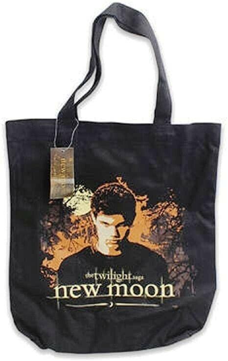 NWT NOS Twilight Saga New Moon Tote Book Canvas Bag Vector Jacob Trees Black