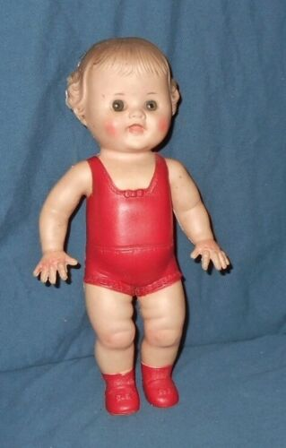"""Vintage  Sun Rubber Co.  TOD-L-DEE  10""""  Rubber Squeaky Doll"""