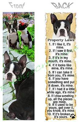 Boston Terrier Bookmark Dog Rules Property Laws Book Mark Card Ornament Figurine
