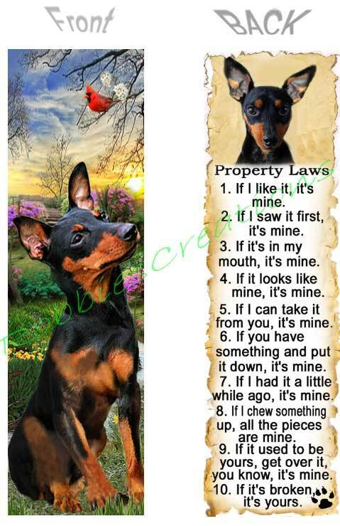 MINIATURE PINSCHER BOOKMARK DOG RULES Min Pin Property LAWS Book Mark Card ART