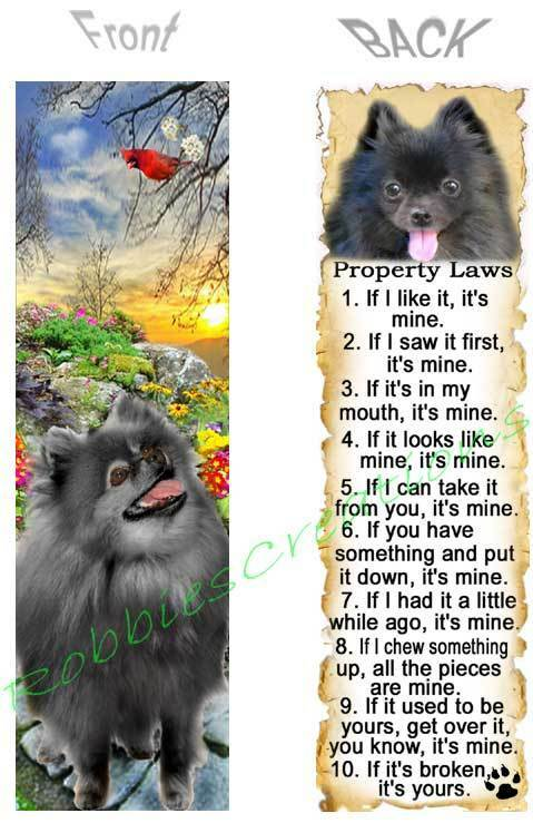 BLACK POMERANIAN BOOKMARK FUN DOG RULES Property LAW ART Book Mark Card Figurine