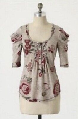 Anthropologie C Keer Dressing Room Henley Gray Floral Scoop Neck Sz Small *NWOT