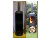Outside wood burner with log storage