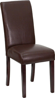 4 Brown Leather Parsons Dining Restaurant Chairs