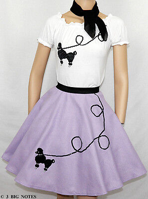 3PC LAVENDER 50's Poodle Skirt outfits Girl Sizes 7,8,9 50s Poodle Outfit Skirt