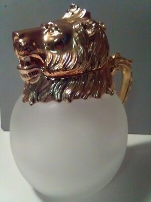 VINTAGE LION HEAD FROSTED GLASS PITCHER  By Designer Carol Stupell MID CENTURY
