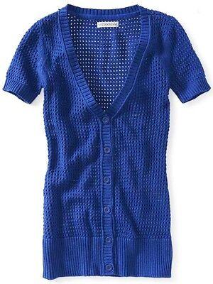 Aeropostale Womens Blue Long Knit V Neck Boyfriend Cardigan Sweater Sz S L Xl