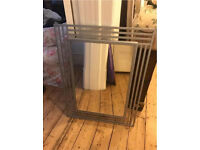 Large Silver Metal Art Deco Mirror 90x67cm