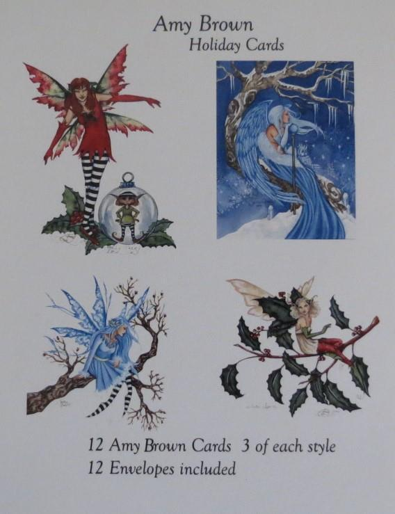 Amy Brown Fairies Christmas Holiday Greeting Cards Set of 12, 4 Mythical Designs