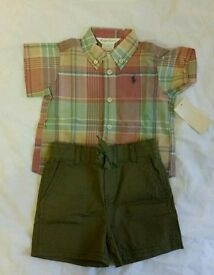 NEW Ralph Lauren baby shirt and short set - 6m