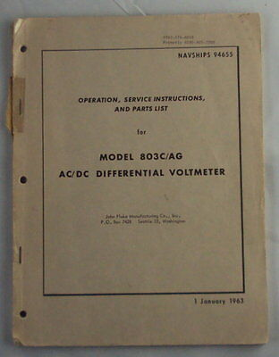 Fluke 803cag Acdc Differential Voltmeter Operating And Service Manual