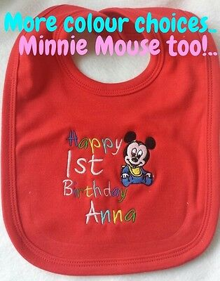 Minnie Mouse 1st Birthday Bib (PERSONALISED BABY BIB MICKEY MINNIE MOUSE TODDLER 1ST BIRTHDAY CAKE PARTY)