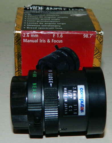 Computar 2.6mm F1.6 Wide Angle Lens for Network IP Camera. New.