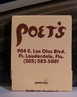 Vintage Matchbook P1 Fort Lauderdale Florida Poet's 904 Las Olas Blvd Nice Font