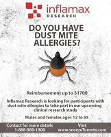 Take Part in a Paid Dust Allergy Study in Mississauga - $1700