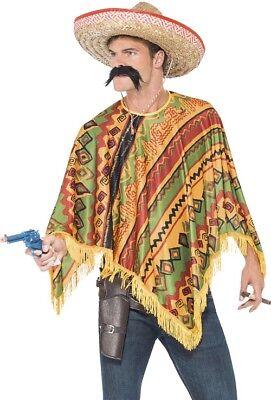 Aztec Costume Halloween (Poncho & Moustache Western Mexican Set in Multi Colours Aztec Design Fancy)