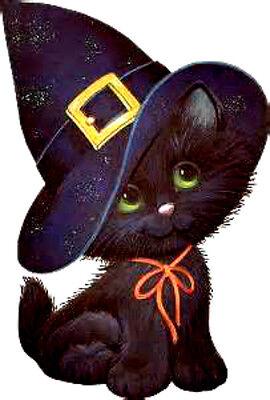 20 water slide nail art  decals Halloween black cat with black hat trending](Black Cat Halloween Nails)
