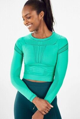New Fabletics Jaymee Mesh L/S Seamless Crop Top Small S 4-6 Bali/Teal Workout