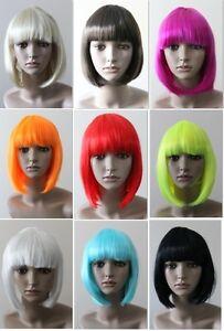 Black-White-Blonde-Brown-Red-Pink-Orange-Blue-Glam-Blunt-bob-with-fringe-wig