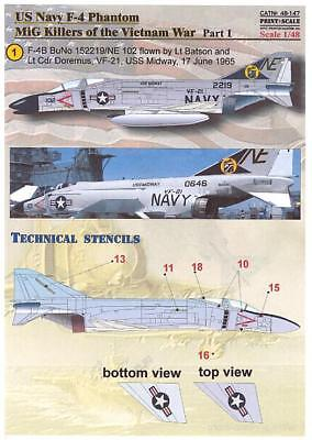 Print Scale Decals 1/48 U.S. NAVY F-4 PHANTOM II MiG KILLERS IN VIETNAM Part 1 for sale  USA