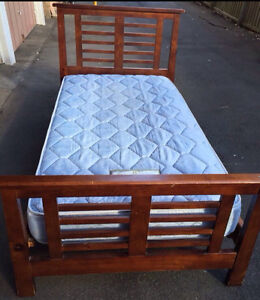 King single rise wood bed frame & mattress Petersham Marrickville Area Preview