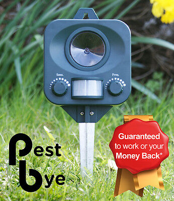 Pestbye Ultrasonic Cat Dog Fox Pest Battery Repeller Scarer Deterrent Repellent
