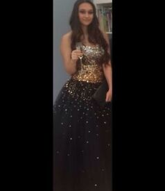 Black/gold princess prom dress