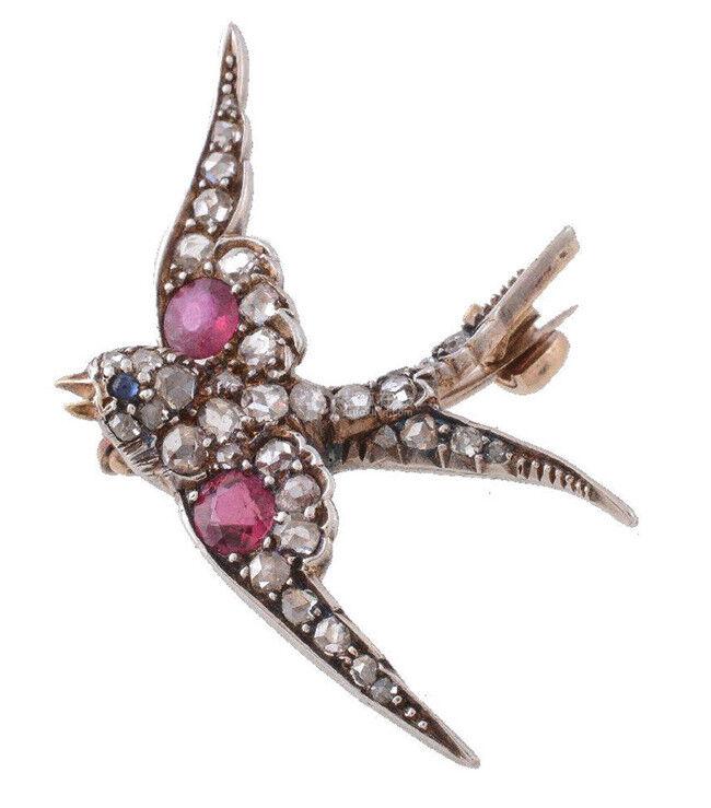 2.10ct ROSE CUT DIAMOND RUBY SAPPHIRE VICTORIAN LOOK 925 SILVER VALENTINE BROOCH