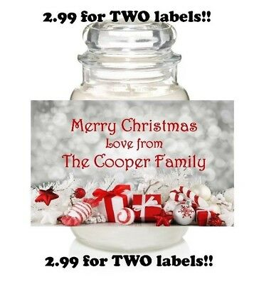 PERSONALISED CHRISTMAS LABEL STICKER CANDLE JAR GIFT IDEA PRESENT YANKEE CANDLE - Jar Gift Ideas