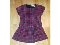 Zara red tartan top/short dress. Age 3-4