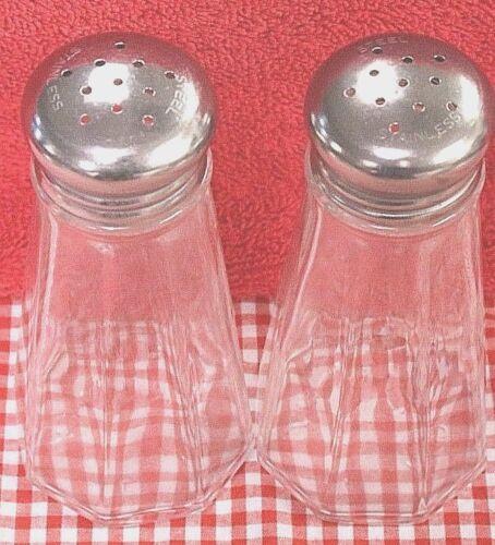 Pair / Set of ROUND PANELED 3 Ounce Restaurant Salt & Pepper Shaker Heavy Glass