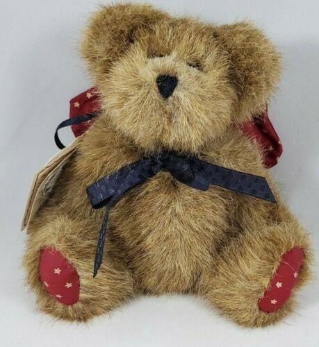 "Boyds Bear ""Be Cautious Says the Head Bean"" ~4.5"" Brown Burgundy Wings w. Stars"